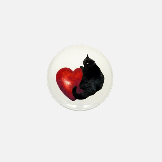 Black Cat Heart Mini Button