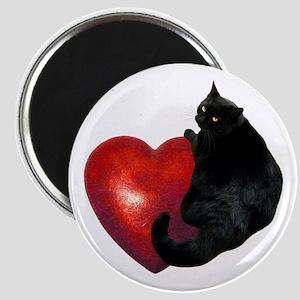 Black Cat Heart Magnet