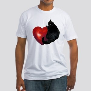 Black Cat Heart Fitted T-Shirt