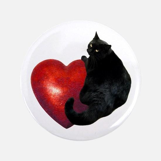 """Black Cat Heart 3.5"""" Button"""