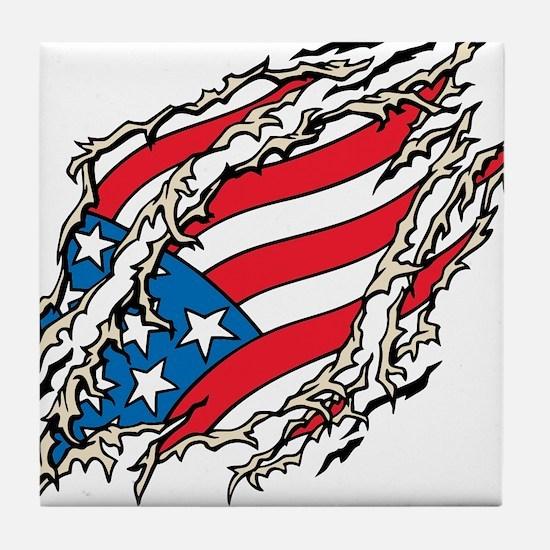 Retro Anerican flag t-shirts Tile Coaster