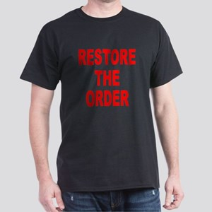 Nebraska Restore The Order (Front) Black T-Shirt