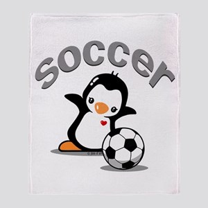 Soccer Penguin (6) Throw Blanket