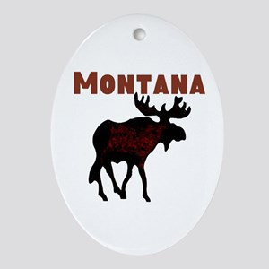 Montana Moose Ornament (Oval)