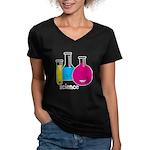 Test Tubes Women's V-Neck Dark T-Shirt