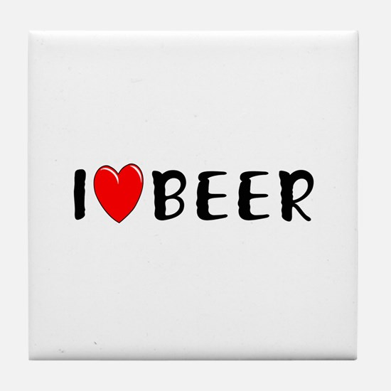 I Love Beer Tile Coaster