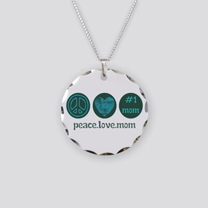 PEACE LOVE #1 MOM Necklace Circle Charm