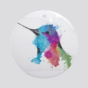 Hummingbird in Ink Round Ornament