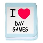 I heart day games baby blanket