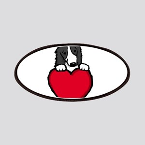 Black Border Collie Valentine Patches