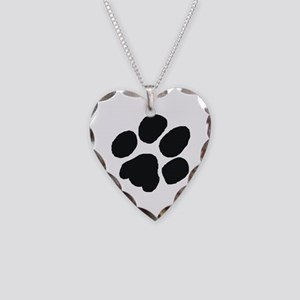 Pawprint Necklace Heart Charm