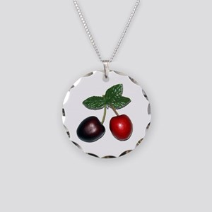 Cherries Necklace Circle Charm
