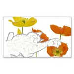Checkers in Poppies Sticker (Rectangle 50 pk)