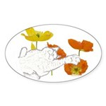 Checkers in Poppies Sticker (Oval 50 pk)