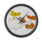 Checkers in Poppies Large Wall Clock