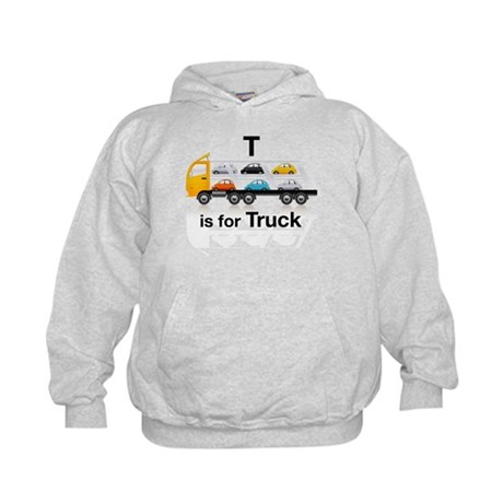 T is for Truck: Car Carrier Kids Hoodie