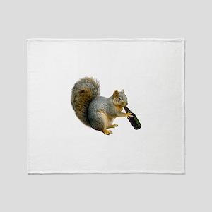 Squirrel Beer Throw Blanket