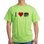 I Love Chinchillas Green T-Shirt