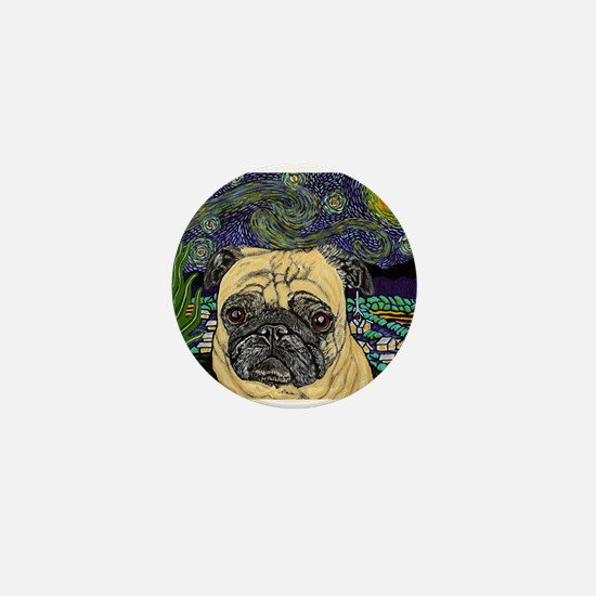 Starry night pug Mini Button