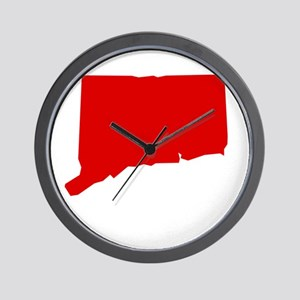 Red Connecticut Wall Clock