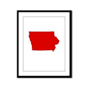Red Iowa Framed Panel Print