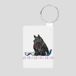 Scottish Terrier Book Aluminum Photo Keychain