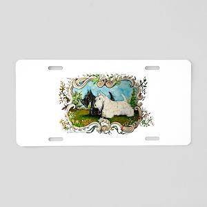 Pastoral Scottish Terriers Aluminum License Plate