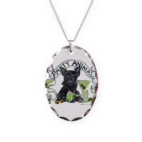 Scottish Terrier Martinis Necklace Oval Charm
