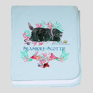 Seashore Scottie Island Dog baby blanket
