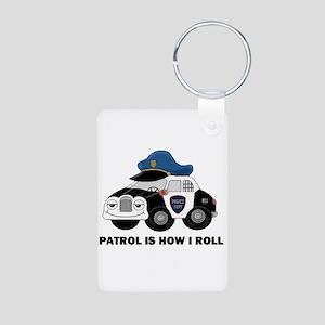 POLICE CAR Aluminum Photo Keychain
