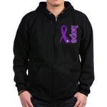 Hope Ribbon Alzheimers Zip Hoodie (dark)