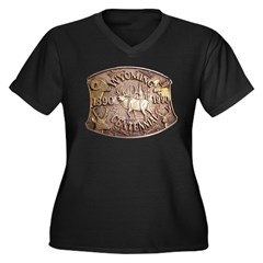 WY Centennial Women's Plus Size V-Neck Dark T-Shir