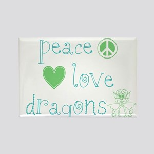 Peace, Love and Dragons Rectangle Magnet