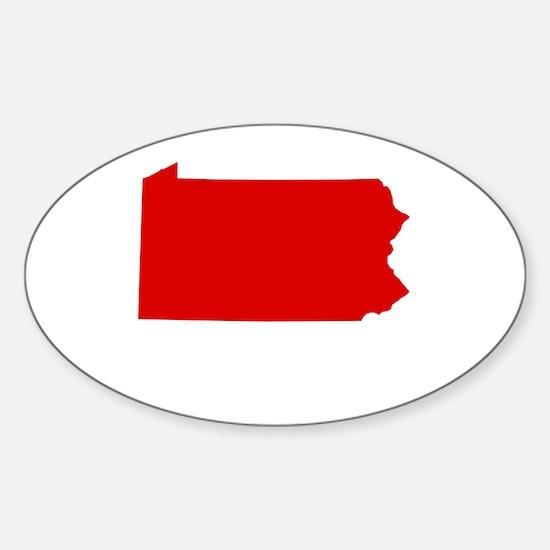 Red Pennsylvania Sticker (Oval)