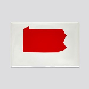 Red Pennsylvania Rectangle Magnet