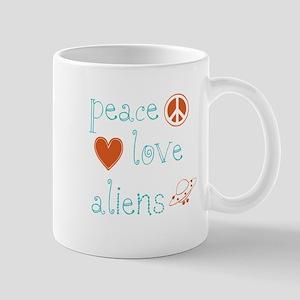 Peace, Love and Aliens Mug
