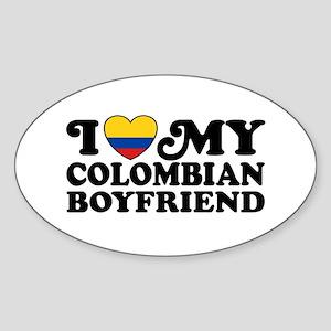 I Love My Colombian Boyfriend Sticker (Oval)