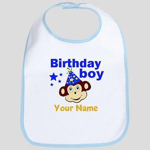 Birthday boy monkey custom Bib