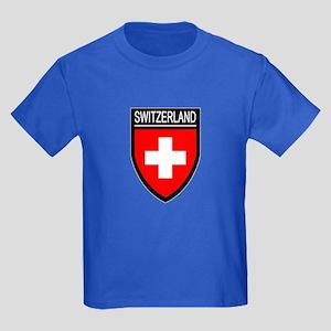 Switzerland Flag Patch Kids Dark T-Shirt