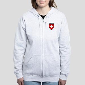 Switzerland Flag Patch Women's Zip Hoodie