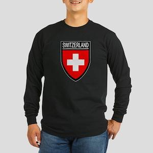 Switzerland Flag Patch Long Sleeve Dark T-Shirt