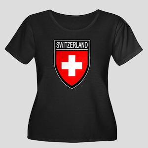 Switzerland Flag Patch Women's Plus Size Scoop Nec