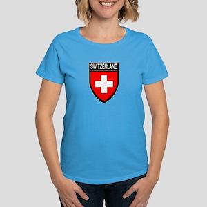 Switzerland Flag Patch Women's Dark T-Shirt