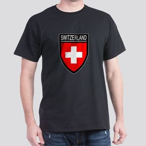 Switzerland Flag Patch Dark T-Shirt