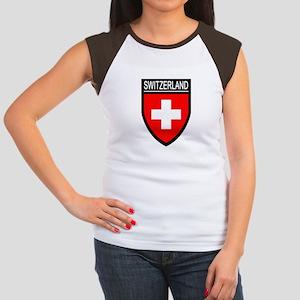 Switzerland Flag Patch Women's Cap Sleeve T-Shirt