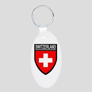 Switzerland Flag Patch Aluminum Oval Keychain
