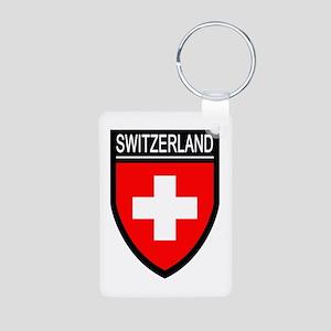 Switzerland Flag Patch Aluminum Photo Keychain