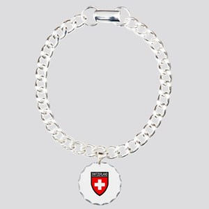 Switzerland Flag Patch Charm Bracelet, One Charm