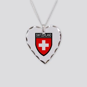 Switzerland Flag Patch Necklace Heart Charm