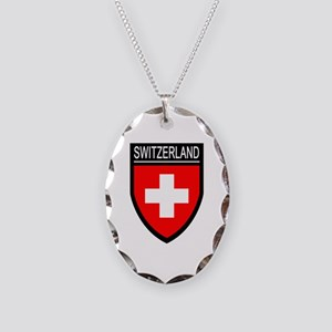 Switzerland Flag Patch Necklace Oval Charm